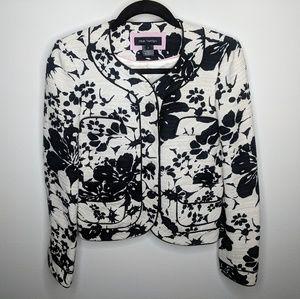 Pink Tartan Canada Black White Floral Blazer sz 2